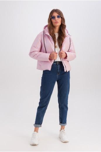 Короткая куртка с капюшоном «Окси» розовая