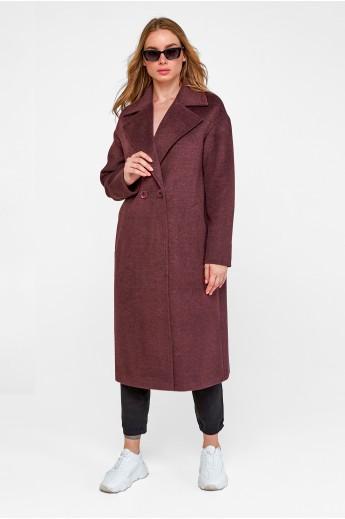Трендовое пальто оверсайз «Агнесса» бордовое