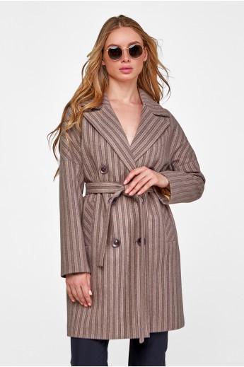 """Двубортное пальто """"Белинда"""" капучино"""