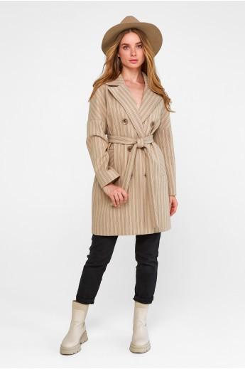"""Двубортное пальто """"Белинда"""" бежевое"""