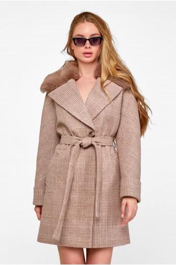 Стильное зимнее пальто «Мили» кэмел