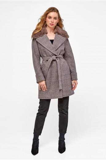 Стильное зимнее пальто «Мили» коричневое