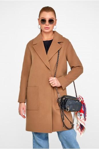"Пальто с накладными карманами ""Нова"" темно-бежевое"