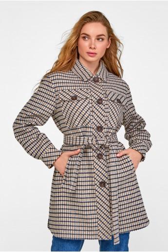 Удлиненное пальто-рубашка «Рикки» серое