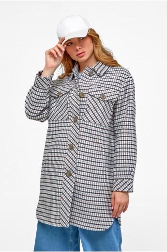 Удлиненное пальто-рубашка «Рикки» синее