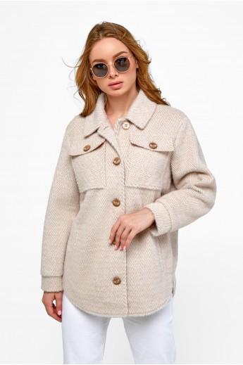 Пальто-рубашка «Эйда» бежевая елка