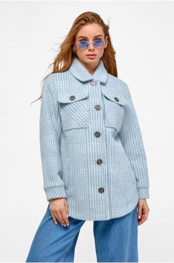 Пальто-рубашка «Эйда» голубая клетка