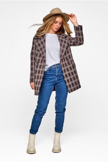 Пальто-пиджак в клетку «Харлоу» коричневое