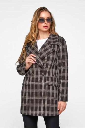 Пальто-пиджак в клетку «Харлоу» черное