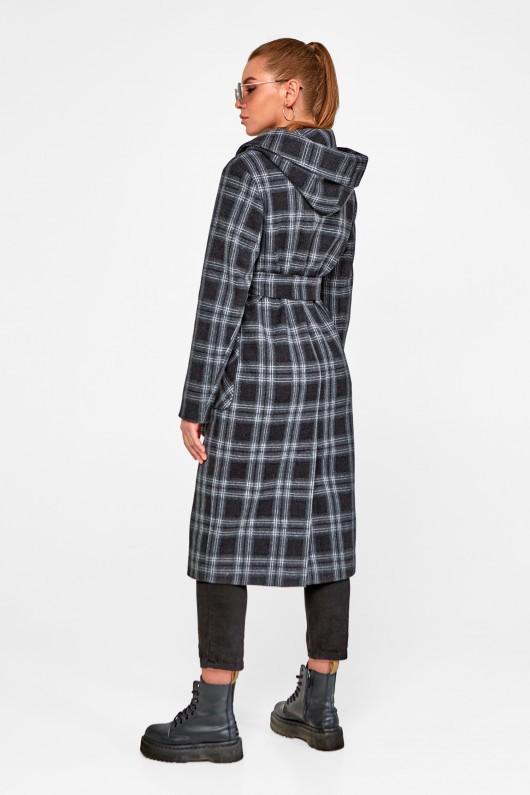 Длинное пальто с капюшоном «Джета» черное