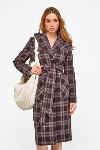 Длинное пальто с капюшоном «Джета» коричневое
