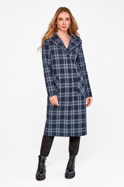 Длинное пальто с капюшоном «Джета» синее