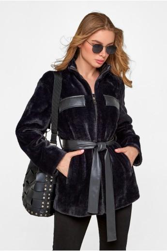 Пальто-рубашка из эко альпаки «Гранде» черная