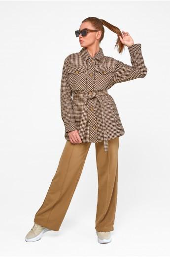 Короткое пальто-рубашка «Линн» коричневое