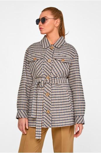 Короткое пальто-рубашка «Линн» серое