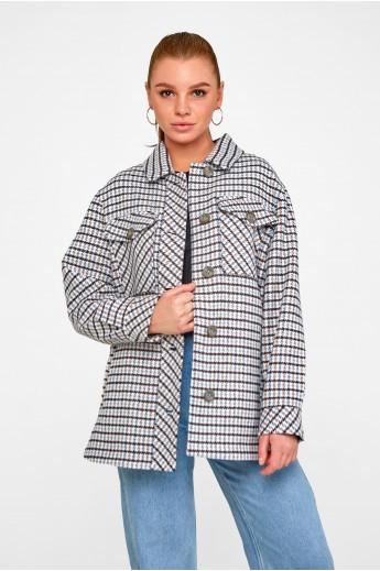 Короткое пальто-рубашка «Линн» синее