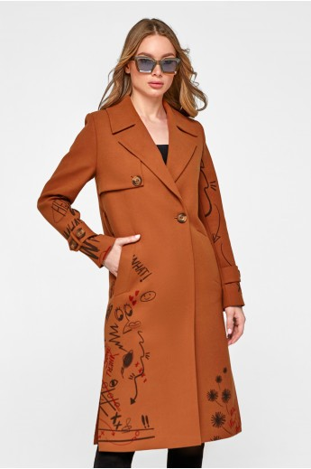 Пальто с принтом «Долли» коньяк