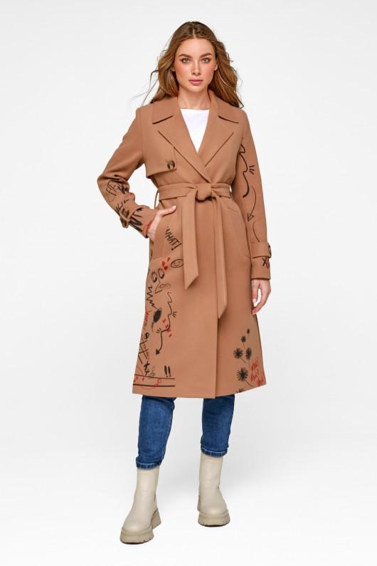 Пальто с принтом «Долли» кэмел
