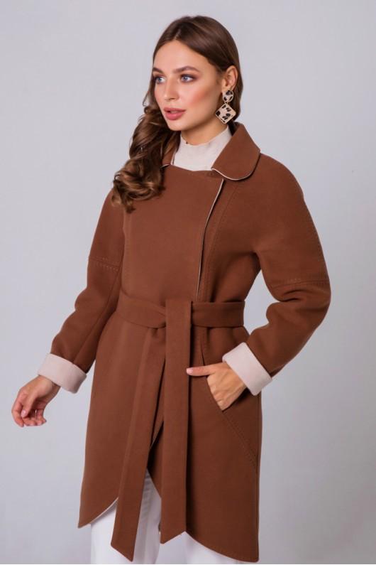 """Пальто двухцветное """"Ким"""" коньяк"""