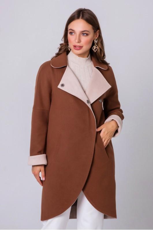 """Пальто двухцветное """"Ким"""" коньячное"""