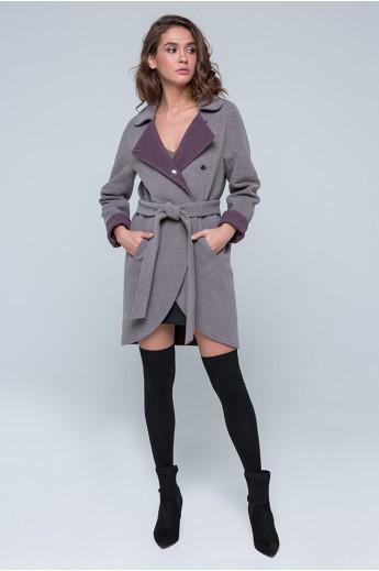 """Пальто двухцветное """"Ким"""" мокко"""
