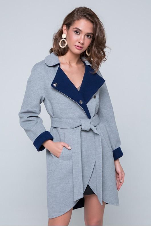 """Пальто двухцветное """"Ким"""" светло-серое"""