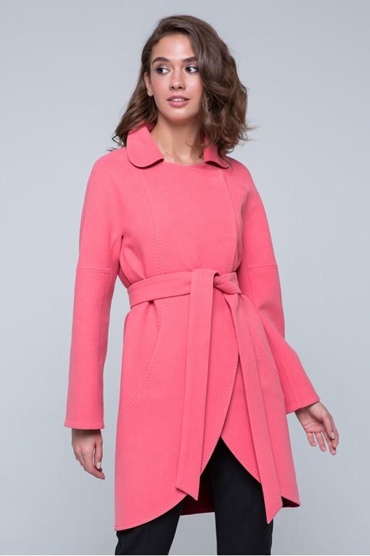 """Пальто двухцветное """"Ким"""" розовое"""