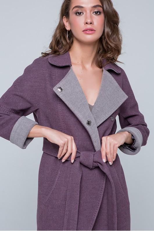 """Пальто двухцветное """"Ким"""" сливовое"""