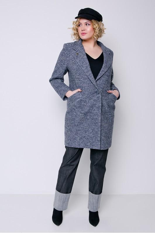 "Демисезонное пальто ""Аида"" серо-синее"