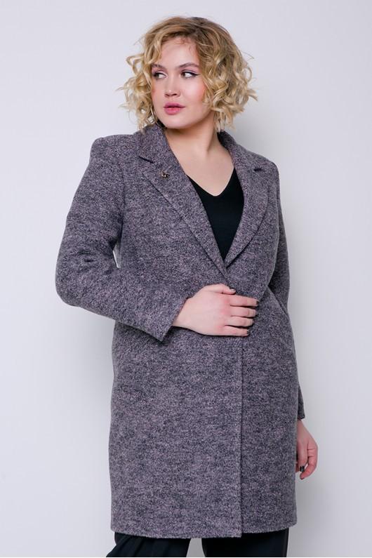 "Демисезонное пальто ""Аида"" серо-розовое"
