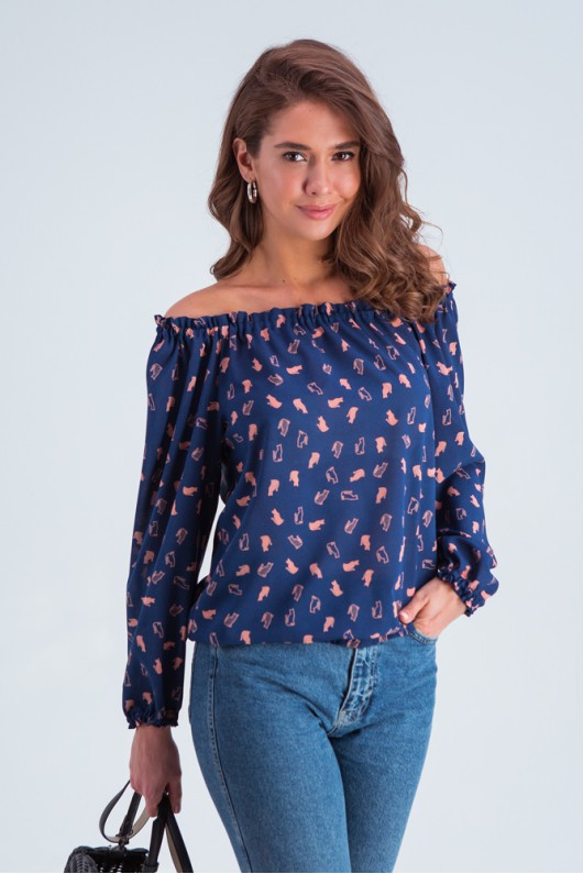 Блузка с открытыми плечами «Трикси» сине-розовая