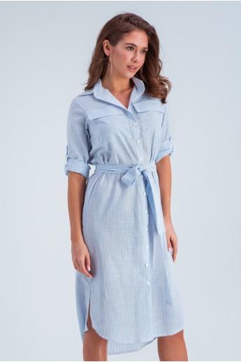 Длинное платье в полоску «Лорин» голубое