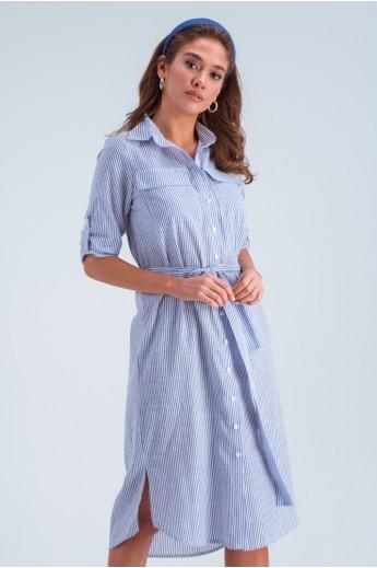 Длинное платье в полоску «Лорин» синее