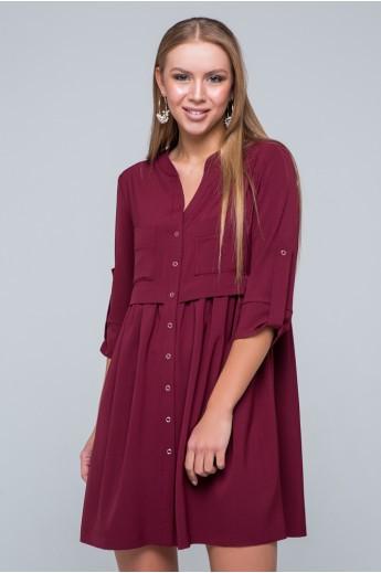 "Платье-рубашка ""Герда"" бордовое"