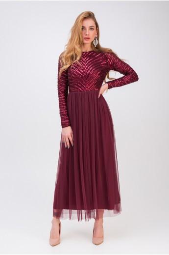 Длинное вечернее платье «Беатрис» бордовое