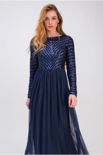 Длинное вечернее платье «Беатрис» синее