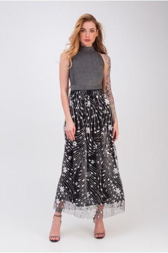 Платье без рукавов «Мэйбл» серебро