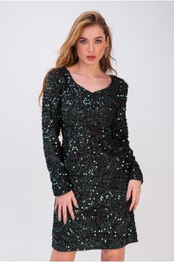 Прямое платье из пайеток «Альба» изумрудное
