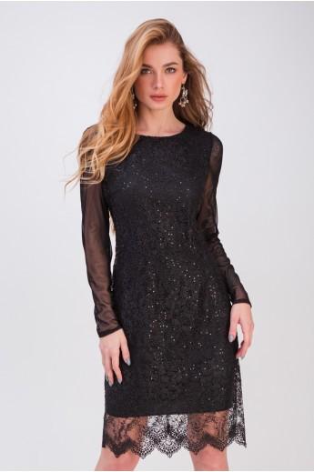 Вечернее платье с гипюром «Мадлен» черное