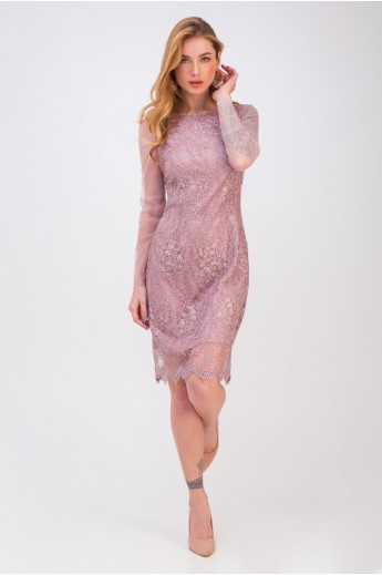 Вечернее платье с гипюром «Мадлен» пудра