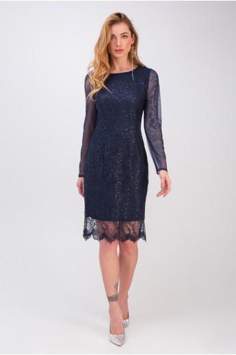 Вечернее платье с гипюром «Мадлен» синее