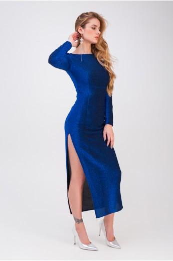 Обтягивающее платье с разрезом «Пенелопа» электрик