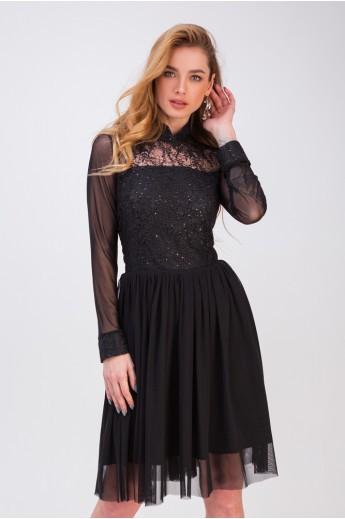 Платье с пышной юбкой «Лаванда» черное