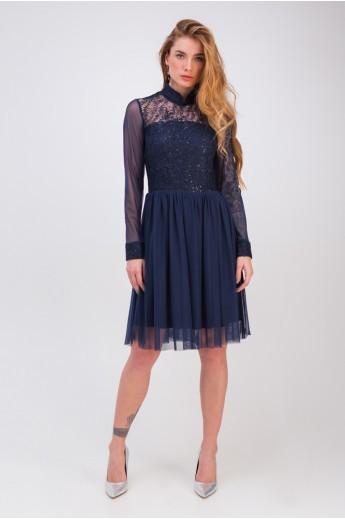 Платье с пышной юбкой «Лаванда» синее
