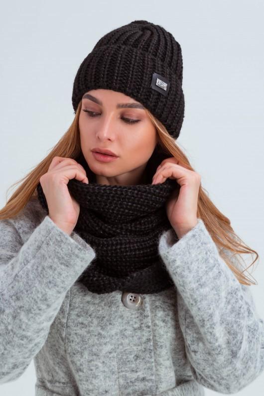 Стильный комплект шапка со снудом «Айова» черный