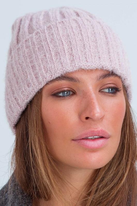 Осенняя женская шапка «Атланта» пудра