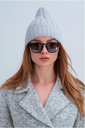 Осенняя женская шапка «Атланта» серая