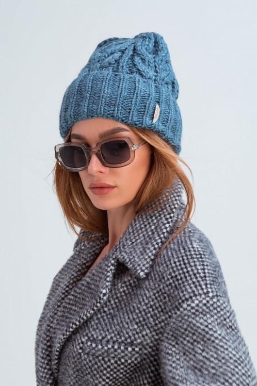 Вязаная женская шапка «Эри» джинс