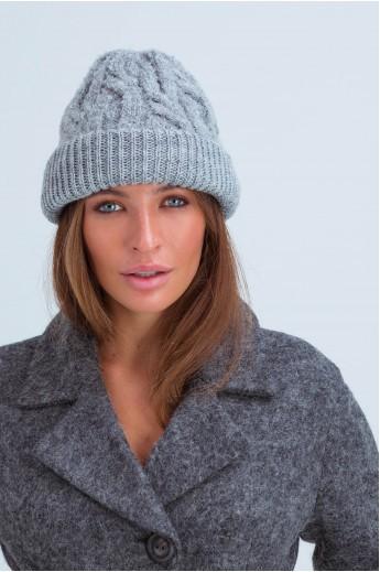 Женская шапка-бини в косичку «Йорк» серая
