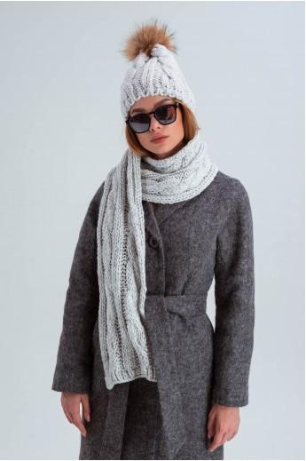 Шапка с шарфом-снудом «Лидс» серая